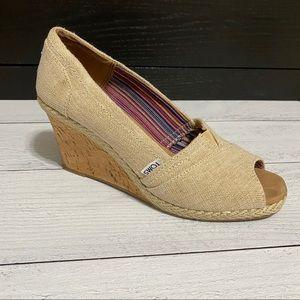 Toms Wedge Peep Toe Heels- 9.5